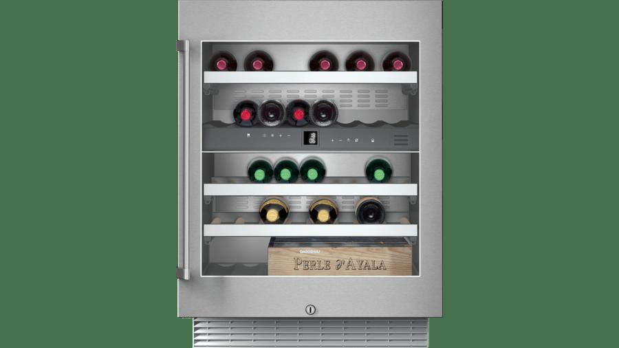 Wine climate cabinet under-counter, stainless steel-framed glass door Niche width 60 cm, Niche height 82 cm RW404262